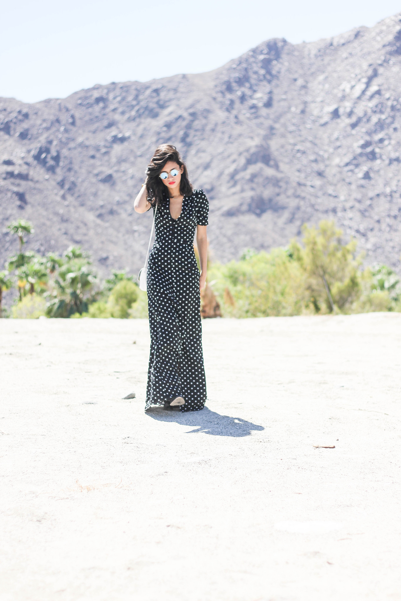 DailyLook maxi dress, 80'sPurple sunglasses, Gorjana x Nordstrom, Elizabeth James boots